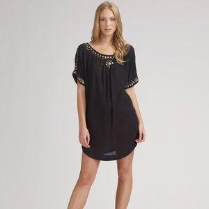 Joie black Benton gold beaded tunic dress new! nwt